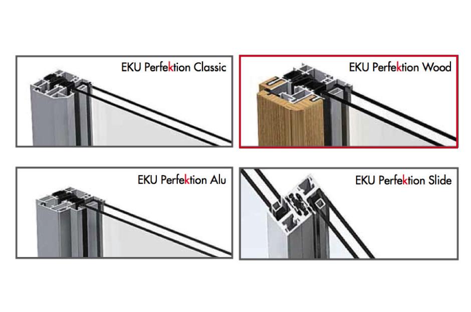 EKU Perfektion Wood, serramento alluminio-legno a taglio termico